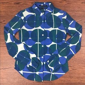 Theory Geometric Silk Button Up Blouse Size Small